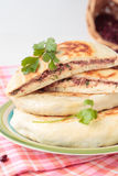 Flat bread with coriander and red beans Stock Photo