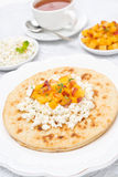 Flat bread with cottage cheese, honey, fresh peaches Stock Photos