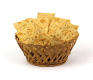Flat Bread Crackers in a Basket Royalty Free Stock Photo