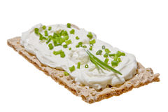 Flat bread with cream cheese Royalty Free Stock Images