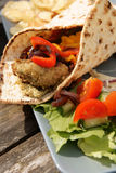 Flat bread with Falafel and Hummus Royalty Free Stock Images