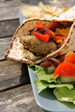Flat bread with Falafel and Hummus Stock Photo