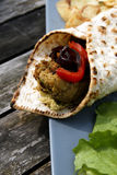 Flat bread with Falafel and Hummus Royalty Free Stock Photography