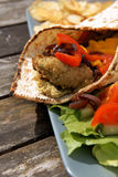 Flat bread with Falafel and Hummus Stock Images