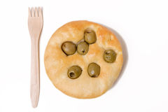 Flat Bread with Olive Stock Photo