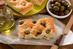 Flat bread with olives Royalty Free Stock Images