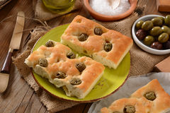 Flat bread with olives Stock Photo