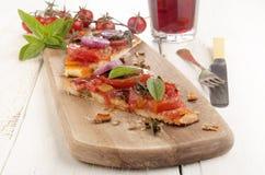 Flat bread pizza with tomato Stock Photo