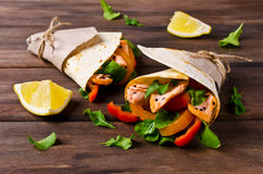 Flat bread with salmon Royalty Free Stock Photos