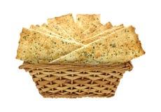 Flat Bread Strips in Basket Stock Image