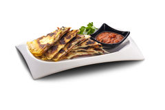 Flat bread stuffed with ham and cheese Stock Images