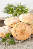 Flat bread of wheat flour with dill and parsley Royalty Free Stock Photo