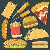 Flat bright  delicious fastfood icons set Royalty Free Stock Images