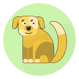 Flat  brown cartoon dog icon. Cute pet domestic animal symbol for design, web, label, logotype Royalty Free Stock Image