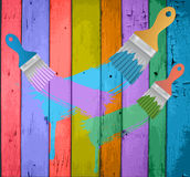 Flat brushes with paint's splashes Stock Photography