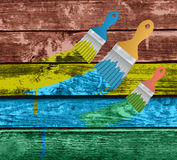 Flat brushes with paint's splashes Stock Photo