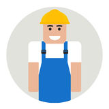 Flat builder. Icon in circle royalty free illustration