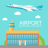 Flat building airport with flying plane tour Royalty Free Stock Photography
