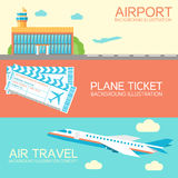 Flat building airport with flying plane tour and Stock Photos
