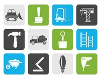 Flat Building and Construction equipment icons Royalty Free Stock Photography