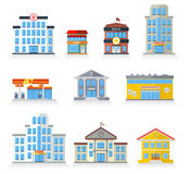 Flat building fronts Royalty Free Stock Image