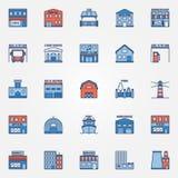 Flat building icons set vector illustration