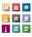 Flat buildings icons set Stock Images
