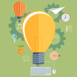 Flat bulb. Ideas finding concept background. Success achievement Royalty Free Stock Images