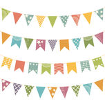 Flat buntings with ornament isolated Royalty Free Stock Photography