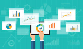 Flat business analytics graph on mobile device. And finance investment planning background Stock Image
