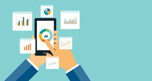 Flat business analytics graph on mobile device. And finance investment planning background Royalty Free Stock Photos