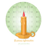 Flat business background with candle flashed money Royalty Free Stock Photo