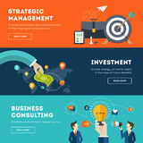 Flat business banner set. Colorful vector flat banner set. Quality design illustrations, elements and concept for business, finance, strategic management, money Stock Photography
