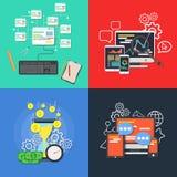 Flat business banner set vector concept illustration. Design element for mobile application and digital service.  Stock Photos