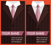 Flat business card template with brown jacket Stock Images