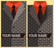 Flat business card template with gray jacket Stock Image