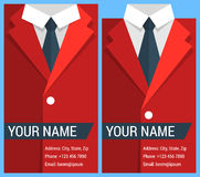 Flat business card template with red jacket Stock Photos