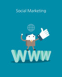 Flat Business character Series. social marketing concept.  Stock Images