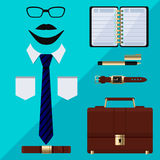 Flat business collection dress. Businessman tools Stock Photo