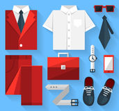 Flat business collection dress. Red color Royalty Free Stock Photos
