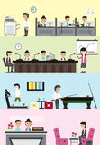 Flat business company building interior and layout for each depa Royalty Free Stock Photo