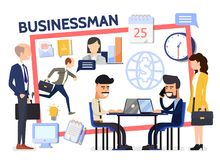 Flat Business Composition. With businessmen managers negotiation computer office workplace letter documents clock globe calendar lightbulb icons vector Stock Photos