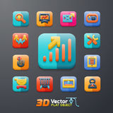 Flat business 3D icon set. Vector flat business 3D icon set Royalty Free Stock Photos