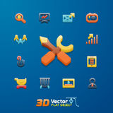Flat business 3D icon set. Vector flat business 3D icon set Stock Images
