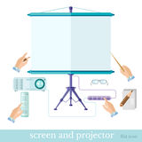 Flat business or education presentation illustration with equipment screen projector note console set on white. Flat business or education presentation Royalty Free Stock Photography