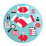 Flat business elements handshake partnership Royalty Free Stock Images