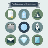 Flat business and finance icons 2. An illustration with different business and finance icons style flat design for user interface Stock Photography