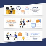 Flat Business Horizontal Banners. With businessmen managers office workplace calendar letter megaphone computer speech clouds briefcase lightbulb documents Royalty Free Stock Image