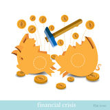 Flat business icon broken piggy bank by hummer Stock Image