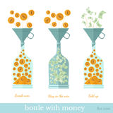 Flat business icon. Coins fall through the funnel into the bottle Royalty Free Stock Photo